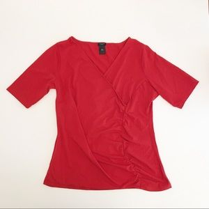 Ann Taylor Factory Cranberry Short Sleeve Wrap Top